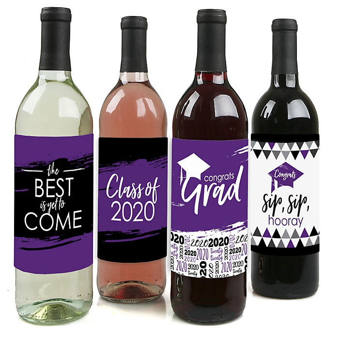 Purple Grad - Best is Yet to Come - 2020 Graduation Decorations for Women and Men - Wine Bottle Label Stickers - Set of 4
