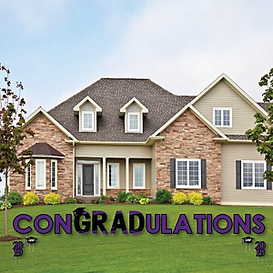 conGRADulations - Purple Grad - Best is Yet to Come - Yard Sign Outdoor Lawn Decorations - Purple 2019 Graduation Party Yard Signs