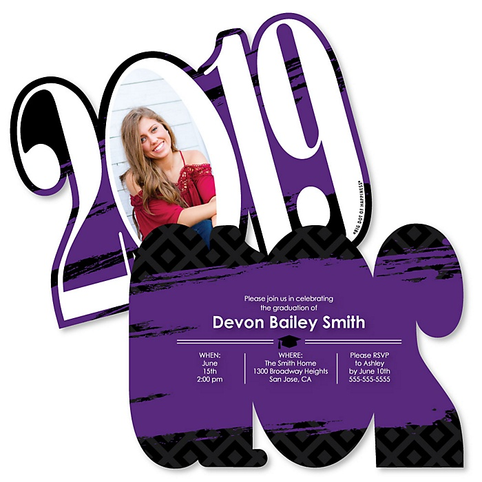 Purple Grad - Best is Yet to Come - Personalized 2019 Photo Graduation Announcement - Set of 12