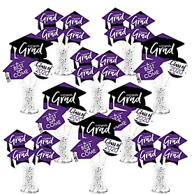 Purple Grad - Best is Yet to Come - 2020 Purple Graduation Party Centerpiece Sticks - Showstopper Table Toppers - 35 Pieces