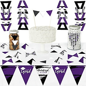 Purple Grad - Best is Yet to Come - DIY Pennant Banner Decorations - Purple Graduation Party Triangle Kit - 99 Pieces