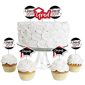 Red Grad - Best is yet to Come - Dessert Cupcake Toppers - Graduation Party Clear Treat Picks - Set of 24