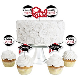 Red Grad - Best is yet to Come - Dessert Cupcake Toppers - Red 2020 Graduation Party Clear Treat Picks - Set of 24