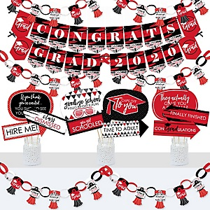 Red Grad - Best is Yet to Come - Banner and PhotoRed Gr Booth Decorations - 2020 Red Graduation Party Supplies Kit - Doterrific Bundle