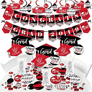 Red Grad - Best is Yet to Come - 2019 Red Graduation Party Supplies - Banner Decoration Kit - Fundle Bundle