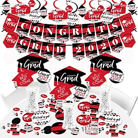 Red Grad - Best is Yet to Come - 2020 Red Graduation Party Supplies - Banner Decoration Kit - Fundle Bundle