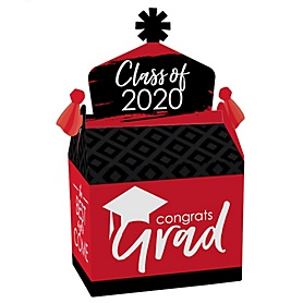 Red Grad - Best is Yet to Come - Treat Box Party Favors - 2020 Red Graduation Party Goodie Gable Boxes - Set of 12