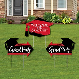 Red Grad - Best is Yet to Come - 2 Red Graduation Party Arrows and 1 Welcome / Thank You Lawn Sign - Double Sided Grad Yard Sign Set - 3 Pieces