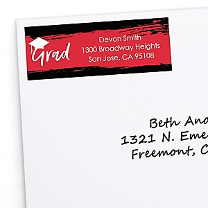 Red Grad - Best is Yet to Come - Personalized Graduation Return Address Labels - 30 ct