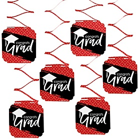 Red Grad - Best is Yet to Come - Graduation Party Hanging Decorations - 6 ct