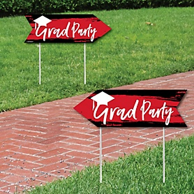 Red Grad - Best is Yet to Come - Graduation Party Sign Arrow - Double Sided Directional Yard Signs - Set of 2