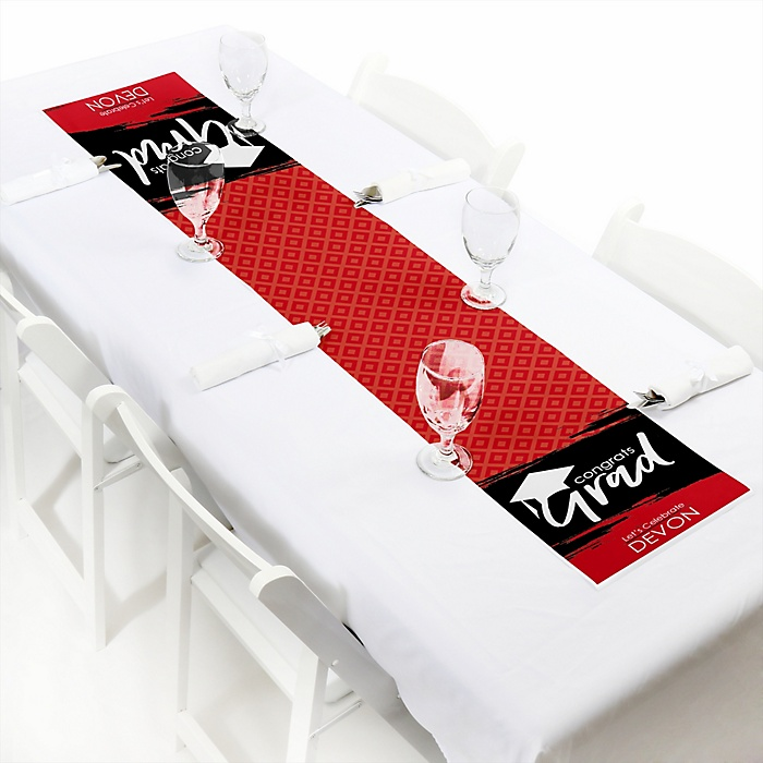 Red Grad - Best is Yet to Come  - Personalized Graduation Party Petite Table Runner