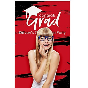 """Red Grad - Best is Yet to Come - Personalized Graduation Party Photo Booth Backdrops - 36"""" x 60"""""""