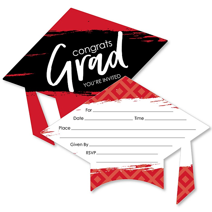 Red Grad - Best is Yet to Come - Shaped Fill-In Invitations - Graduation Party Invitation Cards with Envelopes - Set of 12