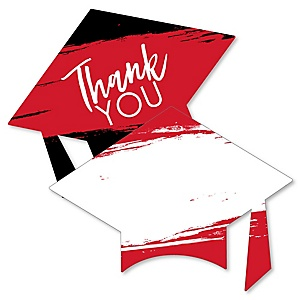 Red Grad - Best is Yet to Come - Shaped Thank You Cards - Red Graduation Party Thank You Note Cards with Envelopes - Set of 12