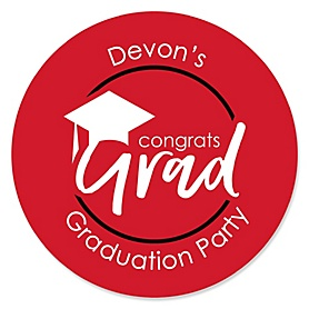 Red Grad - Best is Yet to Come - Personalized Graduation Sticker Labels - 24 ct