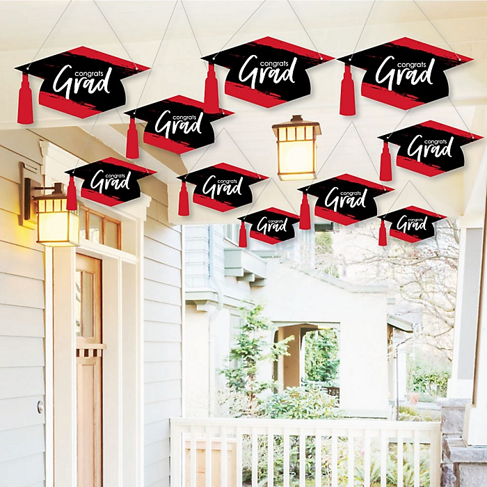 Hanging Red Grad - Best is Yet to Come - Outdoor Graduation Party Hanging Porch & Tree Yard Decorations - 10 Pieces
