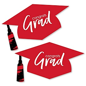Red Grad - Best is Yet to Come - Graduation Hat Decorations DIY Large Red Graduation Party Essentials - 20 Count