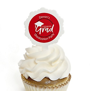 Red Grad - Best is Yet to Come - Personalized Graduation Cupcake Pick and Sticker Kit - 12 ct