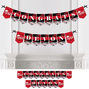 Red Grad - Best is Yet to Come - Personalized 2020 Graduation Party Bunting Banner & Decorations