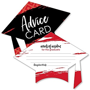 Red Grad - Best is yet to Come - Red Grad Cap Wish Card Graduation Party Activities - Shaped Advice Cards Games - Set of 20