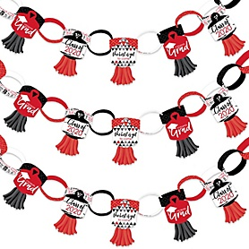 Red Grad - Best is Yet to Come - 90 Chain Links and 30 Paper Tassels Decoration Kit - 2020 Red Graduation Party Paper Chains Garland - 21 feet