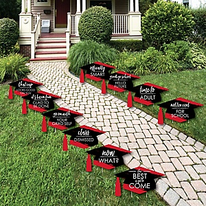 Red Grad - Best is Yet to Come - Grad Cap Lawn Decorations - Outdoor Red Graduation Party Yard Decorations - 10 Piece