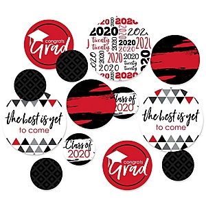 Red Grad - Best is Yet to Come - 2020 Graduation Party Giant Circle Confetti - Red Grad Party Decorations - Large Confetti 27 Count