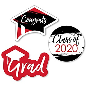 Red Grad - Best is Yet to Come - DIY Shaped 2020 Graduation Party Paper Cut-Outs - 24 ct