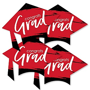 Red Grad - Best is Yet to Come - Grad Cap Decorations DIY Red Graduation Party Essentials - Set of 20