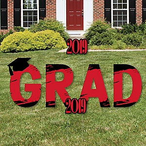GRAD - Red Grad - Best is Yet to Come - Yard Sign Outdoor Lawn Decorations - Red 2019 Graduation Party Yard Signs