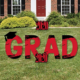 GRAD - Red Grad - Best is Yet to Come - Yard Sign Outdoor Lawn Decorations - Red 2020 Graduation Party Yard Signs
