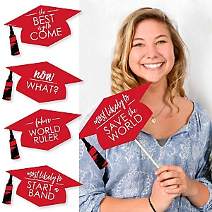 Hilarious Red Grad - Best is Yet to Come - 20 Piece Red Graduation Party Photo Booth Props Kit