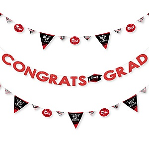 Red Grad - Best is Yet to Come - 2019 Red Graduation Party Letter Banner Decoration - 36 Banner Cutouts and Congrats Grad Banner Letters