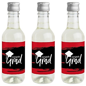 Red Grad - Best is yet to Come - Mini Wine and Champagne Bottle Label Stickers - Red Graduation Party Favor Gift - For Women and Men - Set of 16