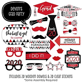 Red Grad - Best is Yet to Come - 20 Piece 2020 Graduation Party Photo Booth Props Kit