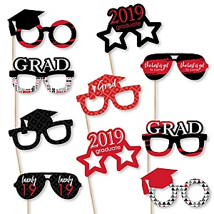 Red Grad Glasses - Best is Yet to Come - Red 2019 Paper Card Stock Graduation Party Photo Booth Props Kit - 10 Count