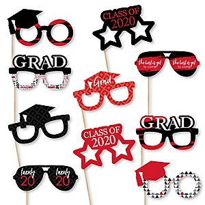 Red Grad Glasses - Best is Yet to Come - Red 2020 Paper Card Stock Graduation Party Photo Booth Props Kit - 10 Count