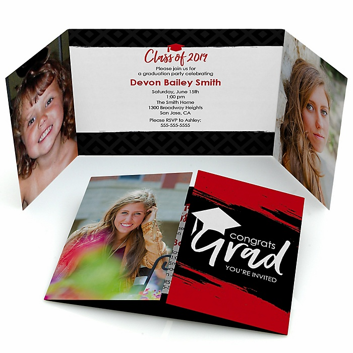 Red Grad - Best is Yet to Come - Personalized Photo 2019 Graduation Invitations - Set of 12