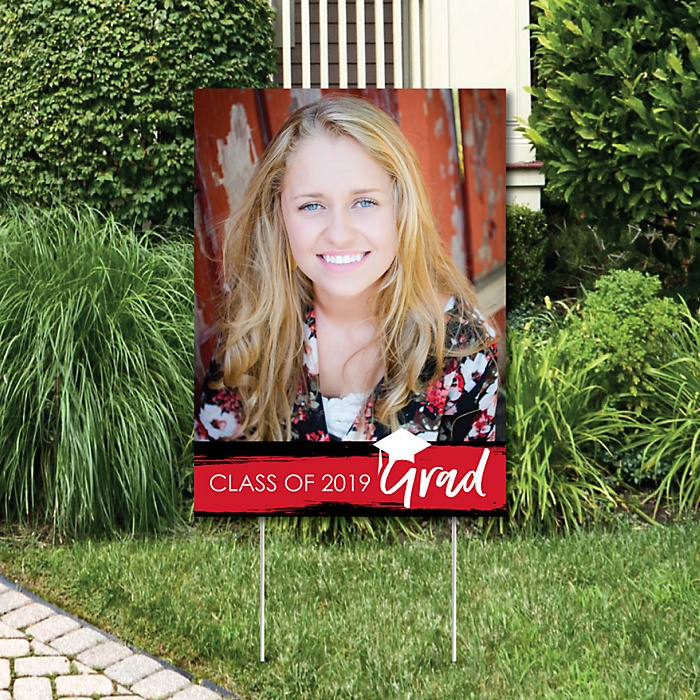 Red Grad - Best is Yet to Come - Photo Yard Sign - Red 2019 Graduation Party Decorations
