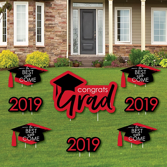 Red Grad - Best is Yet to Come - Yard Sign & Outdoor Lawn Decorations – 2019 Graduation Party Yard Signs - Set of 8