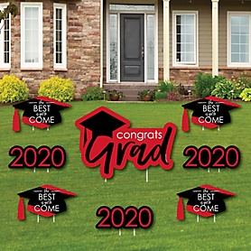 Red Grad - Best is Yet to Come - Yard Sign & Outdoor Lawn Decorations – 2020 Graduation Party Yard Signs - Set of 8
