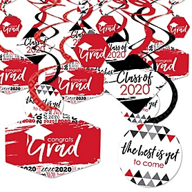 Red Grad - Best is Yet to Come - 2020 Red Graduation Party Hanging Decor - Party Decoration Swirls - Set of 40