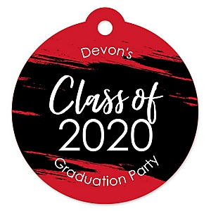 Red Grad - Best is Yet to Come - Round Personalized 2020 Graduation Party Die-Cut Tags - 20 ct