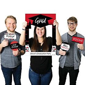 Red Grad - Best is Yet to Come - Personalized Graduation Party Selfie Photo Booth Picture Frame & Props - Printed on Sturdy Material