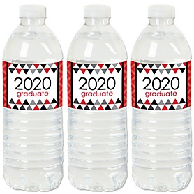 Red Grad - Best is Yet to Come - 2020 Red Graduation Party Water Bottle Sticker Labels - Set of 20