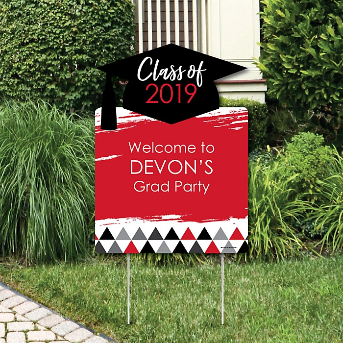 Red Grad - Best is Yet to Come - Party Decorations - 2019 Graduation Party Personalized Welcome Yard Sign