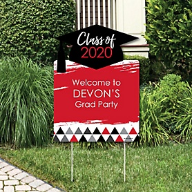 Red Grad - Best is Yet to Come - Party Decorations - 2020 Graduation Party Personalized Welcome Yard Sign
