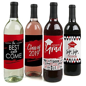 Red Grad - Best is Yet to Come - 2019 Graduation Decorations for Women and Men - Wine Bottle Label Stickers - Set of 4