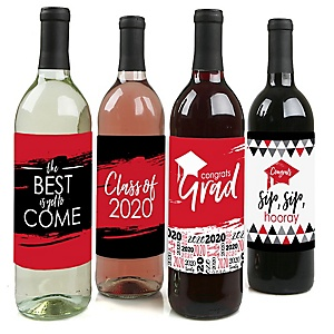 Red Grad - Best is Yet to Come - 2020 Graduation Decorations for Women and Men - Wine Bottle Label Stickers - Set of 4